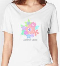 Summer vibes with pastel floral print Women's Relaxed Fit T-Shirt