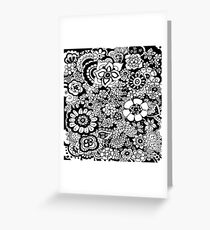 Flower Shower Abstract Black and White Monochrome Pattern Greeting Card