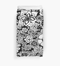 Flower Shower Abstract Black and White Monochrome Pattern Duvet Cover