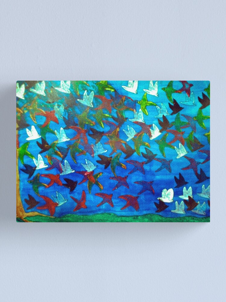 Alternate view of One Hundred Birds Canvas Print