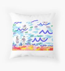 Sunday at the Beach Throw Pillow