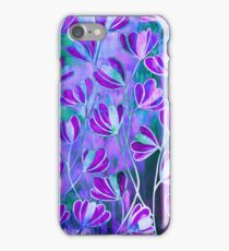 EFFLORESCENCE Lilac Lavender Purple Turquoise Blue Floral Garden Watercolor Painting Pattern Flowers Nature Fine Art Design  iPhone Case/Skin