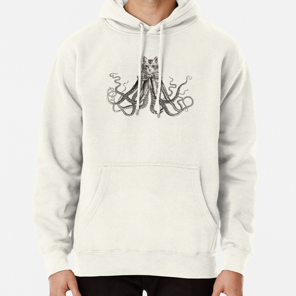 Octopussy | Half Cat Half Octopus | Hybrid Animals | Vintage Style | Black and White |  Pullover Hoodie