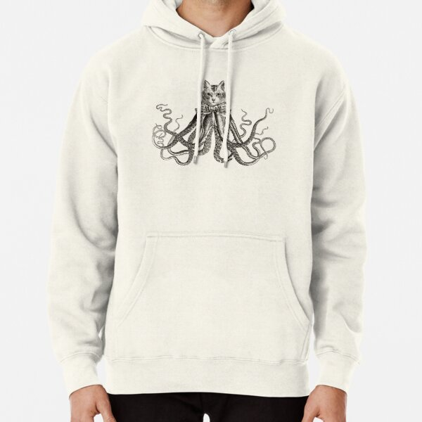 Octopussy   Half Cat Half Octopus   Hybrid Animals   Vintage Style   Black and White    Pullover Hoodie