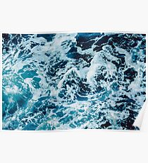 Turquoise Blue Ocean Waves Poster