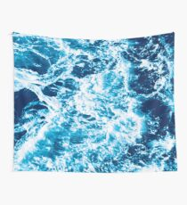 Turquoise Ocean Wave - Electric Marbled Seas Wall Tapestry