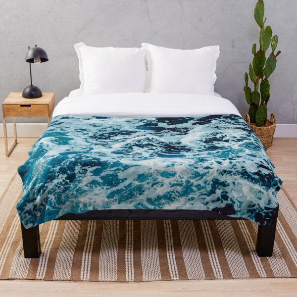 Turquoise Blue Ocean Waves Throw Blanket