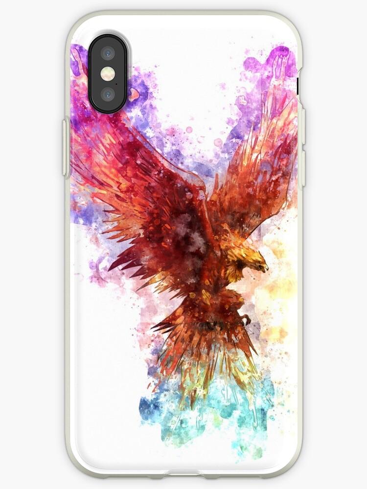 5b577cdf667f5 'Watercolor Rainbow Phoenix' iPhone Case by insomniacart