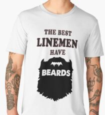lineman beards gift, power electrician linemen bearded t shirt Men's Premium T-Shirt