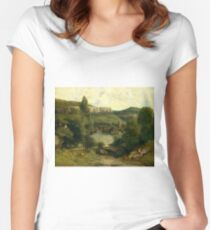 View of Ornans 1850 Gustave Courbet Women's Fitted Scoop T-Shirt