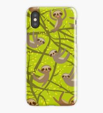 Cute Sloths on green iPhone Case/Skin