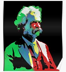 Mark Twain Colorful Old Gentleman Fun Art Poster