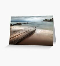 Mumbles Beach and Lighthouse Greeting Card