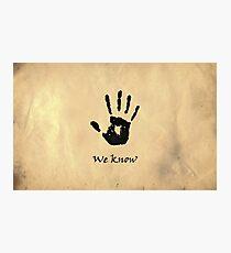 "The Elder Scrolls V: Skyrim - Dark Brotherhood Black Hand ""We Know"" Photographic Print"