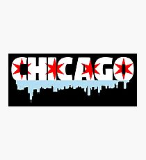 Chicago Flag Skyline Photographic Print