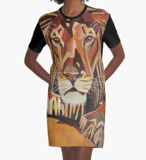 Relaxed Lion Portrait in Cubist Style Graphic T-Shirt Dress