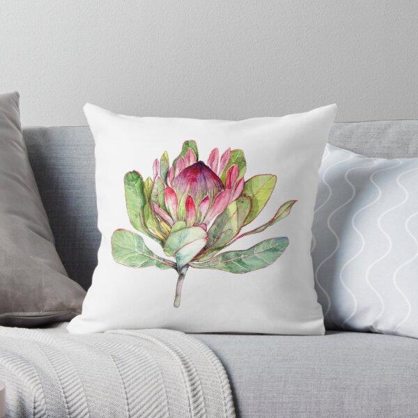 Protea Flower - Botanical Art Throw Pillow