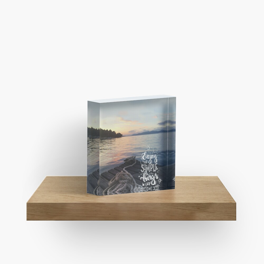 Enjoy the simple things in life - Landscape by the sea Acrylic Block