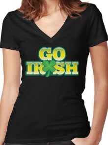GO IRISH St Patrick's Day Design with a shamrock Women's Fitted V-Neck T-Shirt