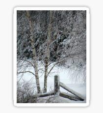 Snow on Fence Sticker