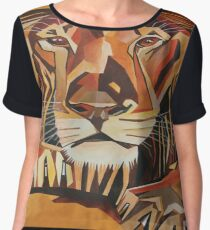 Lion Vector In Cubist Style Women's Chiffon Top