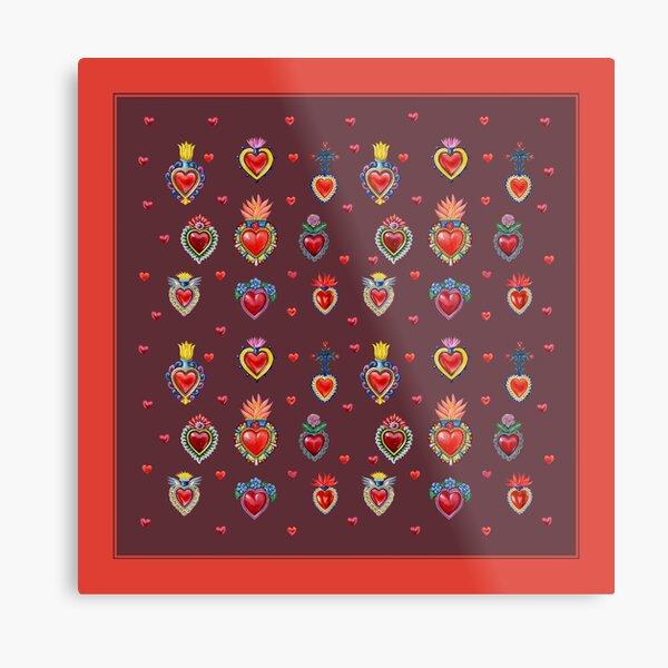 Mexican Sacred Hearts Metal Print