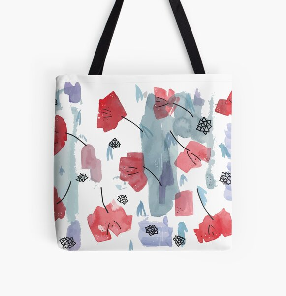 Red Flowers - Abstract All Over Print Tote Bag