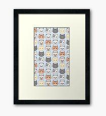 Kitty Wallpaper - Blue Framed Print