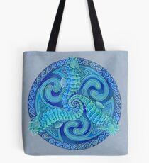 Seahorse Triskele Blue Celtic Mandala Tote Bag