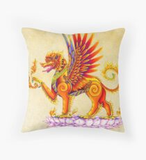 Singha - Mythical Winged Lion Thai Temple Guardian Throw Pillow
