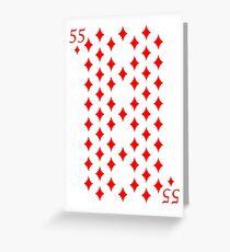 55 of Diamonds Magic Playing Card Greeting Card
