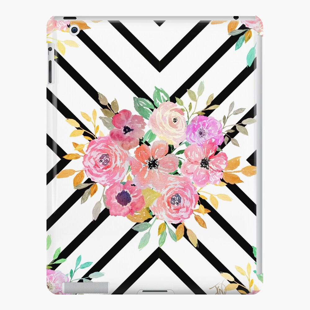 Diseño floral y geométrico del diamante de la acuarela Funda y vinilo para iPad