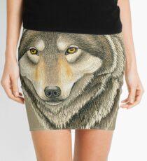 Gray Wolf Portrait Mini Skirt
