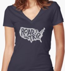 Road Trip USA - blue Women's Fitted V-Neck T-Shirt