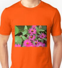 Pink colorful flowers and green leaves  T-Shirt