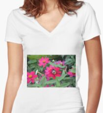 Bee on pink flowers in the garden  Women's Fitted V-Neck T-Shirt