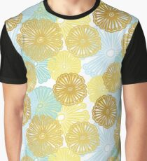 Gold & Blue Floral Pattern Graphic T-Shirt