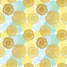 Gold & Blue Floral Pattern by tanyadraws