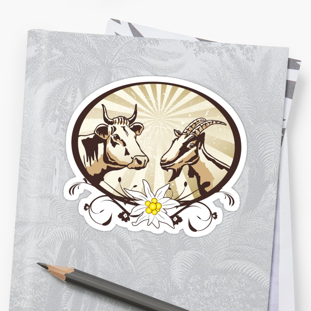 Natural farm, cow and goat Sticker