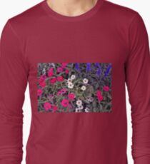 White, pink and purple flowers background  T-Shirt