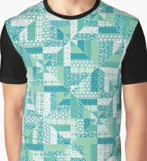 Turquoise Geometric Quilt Pattern Graphic T-Shirt