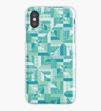 Turquoise Geometric Quilt Pattern iPhone Case/Skin