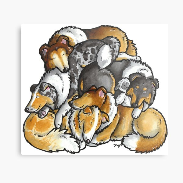 Rough Collie - sleeping pile cartoon Metal Print