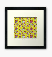 Seamless bright pattern with funny cakes Framed Print