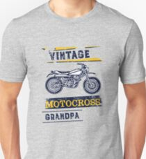 Vintage Motocross Grandpa Motorcycle Graphic Design Slim Fit T-Shirt