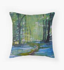 The Bluebell Wood, Watercolour Art Throw Pillow