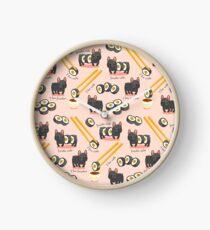 Niedliches Muster des Spaßsushirollenhundes Uhr