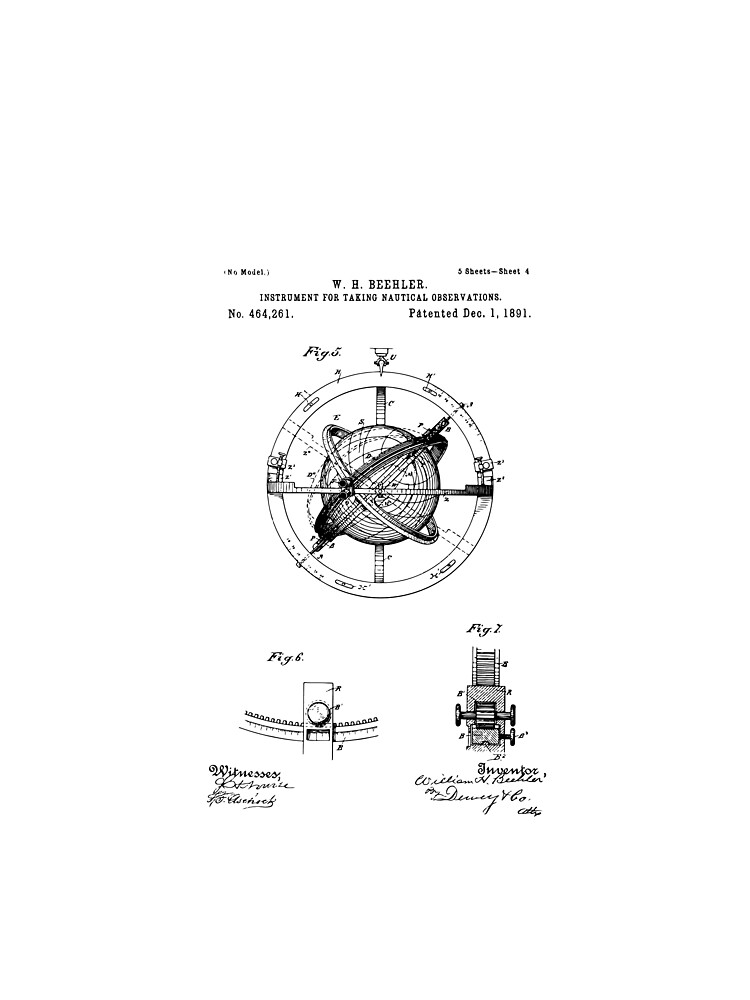 Vintage nautical compass 1891 patent drawing illustration art vintage nautical compass 1891 patent drawing illustration art print wall art home malvernweather Gallery