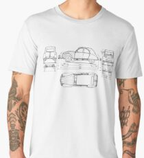 Vintage Citroen DS Blueprint | Cars Men's Premium T-Shirt