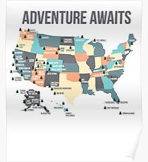 Nationalparks - Listet alle 59 Nationalparks auf Poster